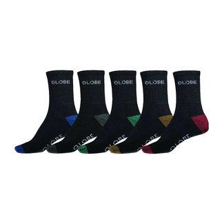 Globe Ingles Crew Socks 5 Pack Asst.