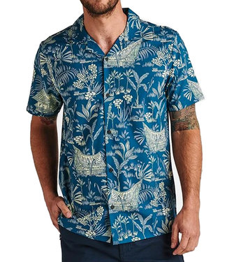Roark Joglo Woven Tech Shirt Marine Blue