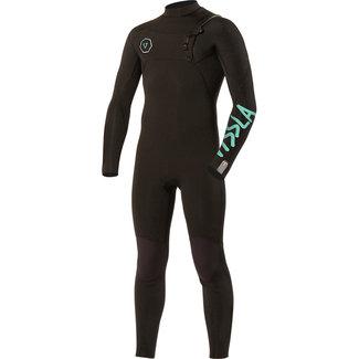 Vissla Boys Seven Seas 4-3 Full Chest Zip Wetsuit BLK