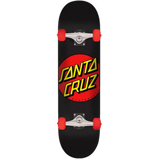 "Santa Cruz Classic Dot Super Micro 7.25"" Complete Skateboard Black Red"