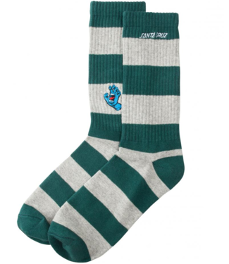 Santa Cruz Screaming Mini Hand Stripe Sock O/S Evergreen/Athletic Heather