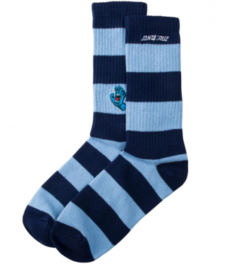 Santa Cruz Screaming Mini Hand Stripe Sock O/S Dark Navy/Powder Blue