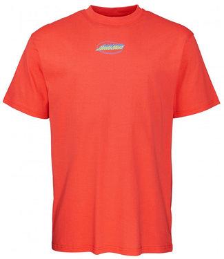 Santa Cruz Cosmic Cat Strip T-Shirt Hot Coral