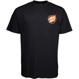 Santa Cruz Flaming Japanese Dot T-Shirt Black