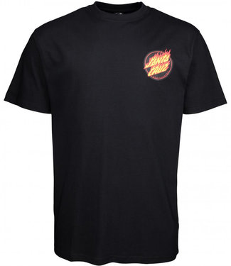Santa Cruz Flaming Japanese Dot T-Shirt Black