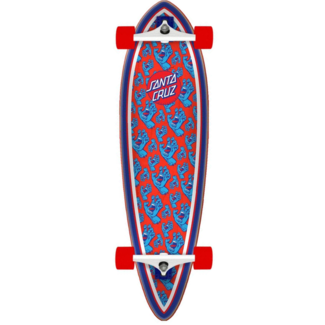 """Santa Cruz Hands All Over Pintail 39"""" Longboard Complete Red/Blue"""