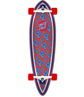 "Santa Cruz Hands All Over Pintail 39"" Longboard Complete Red/Blue"