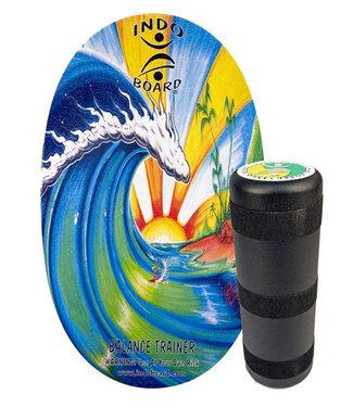 Indo Board Original Bamboo Beach Balance Board + Indo Roller