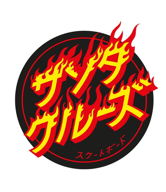 "Santa Cruz Flaming Japanese Dot Sticker 4.5"""