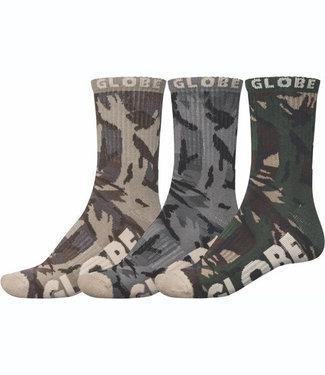 Globe Eco Camo Crew Sock 3 Pack (39-45)
