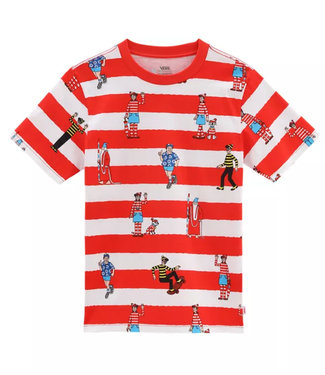 Vans X Waar is Wally Stripe SS Boys T-Shirt White/Red