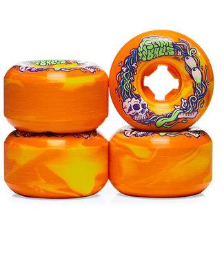 Santa Cruz 56mm 99A Brains Speed Balls Orange Yellow Swirl Skateboard Wheels
