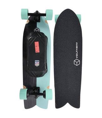 """Voltaway Slab 34"""" Aqua Retrofish E-Skateboard Complete"""