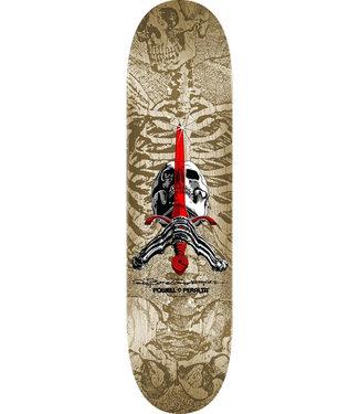 """Powell Peralta 9.0"""" Skull And Sword White Gray Skateboard Deck"""