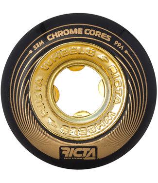 Ricta Chrome Core 53mm 99a Black/Gold Skateboard Wheels