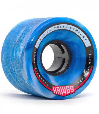 Hawgs Chubby Longboard Wheels 60mm 78A Blue/White Swirl