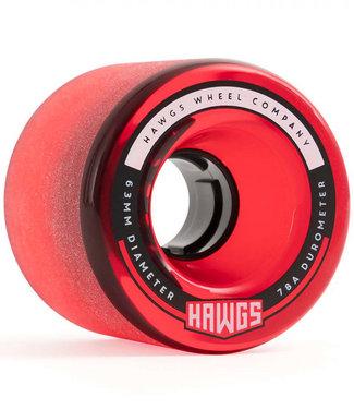 Hawgs Fatty Cruiser Longboard Wheels 63mm/78A Clear Red