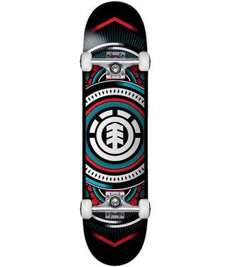 """Element 7.75"""" Hatched Red Blue Skateboard Complete"""