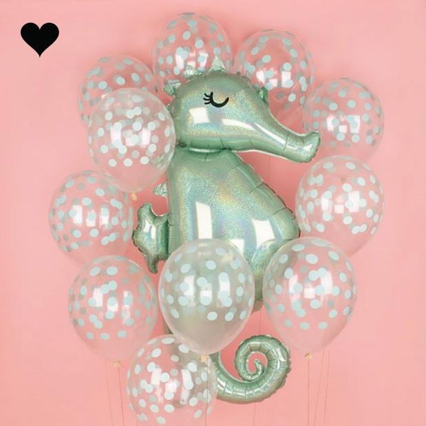 Folieballon zeepaard holographic (96cm)-2