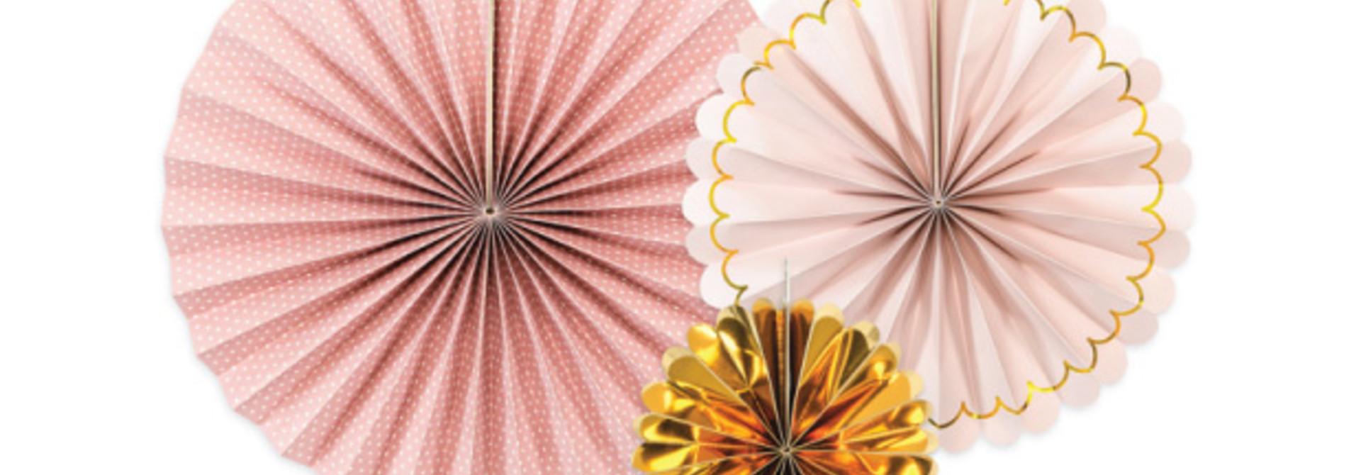 Waaiers roze goud mix (3 st)