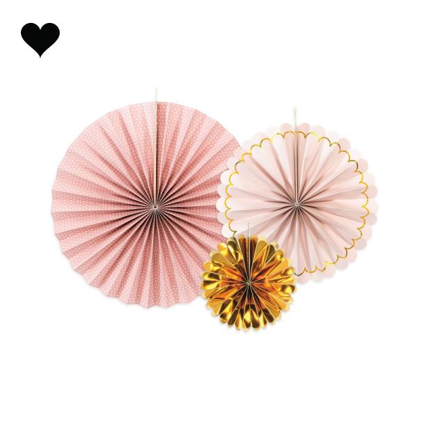 Waaiers roze goud mix (3 st)-1