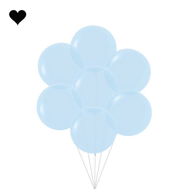 Ballon Pastel Mat Blauw (60cm)-4