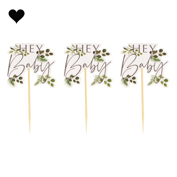 Cupcake toppers Botanical Baby (12st) Ginger Ray-2