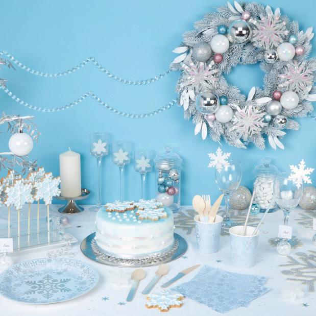 Onderzetters glitter Sneeuwvlok (4st)-2