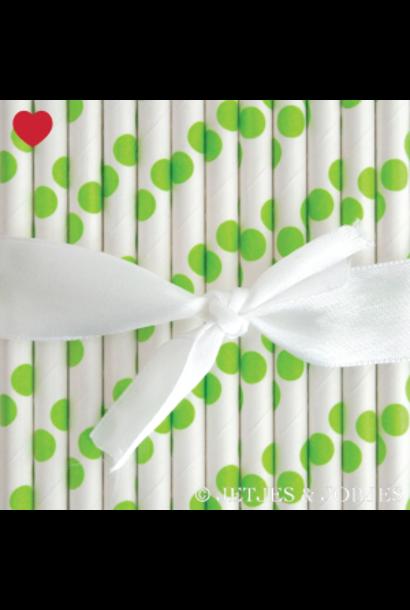 Papieren rietjes polka dot groen (25st)