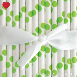 Papieren rietjes polka dot groen (25st)-1