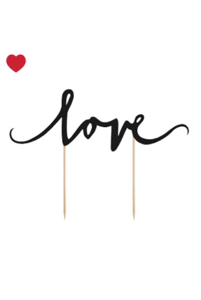 Cake topper love zwart