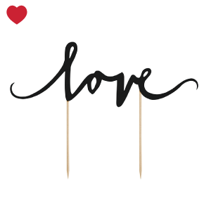Cake topper love zwart-1