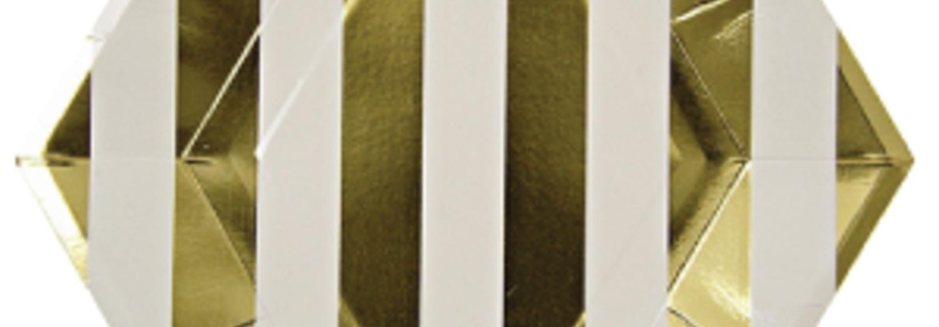Gebaksbordjes goud gestreept (8st) Meri Meri