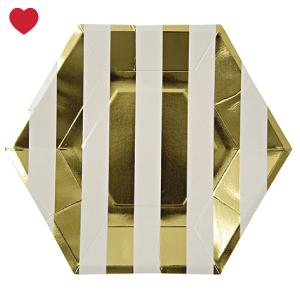 Gebaksbordjes goud gestreept (8st) Meri Meri-1