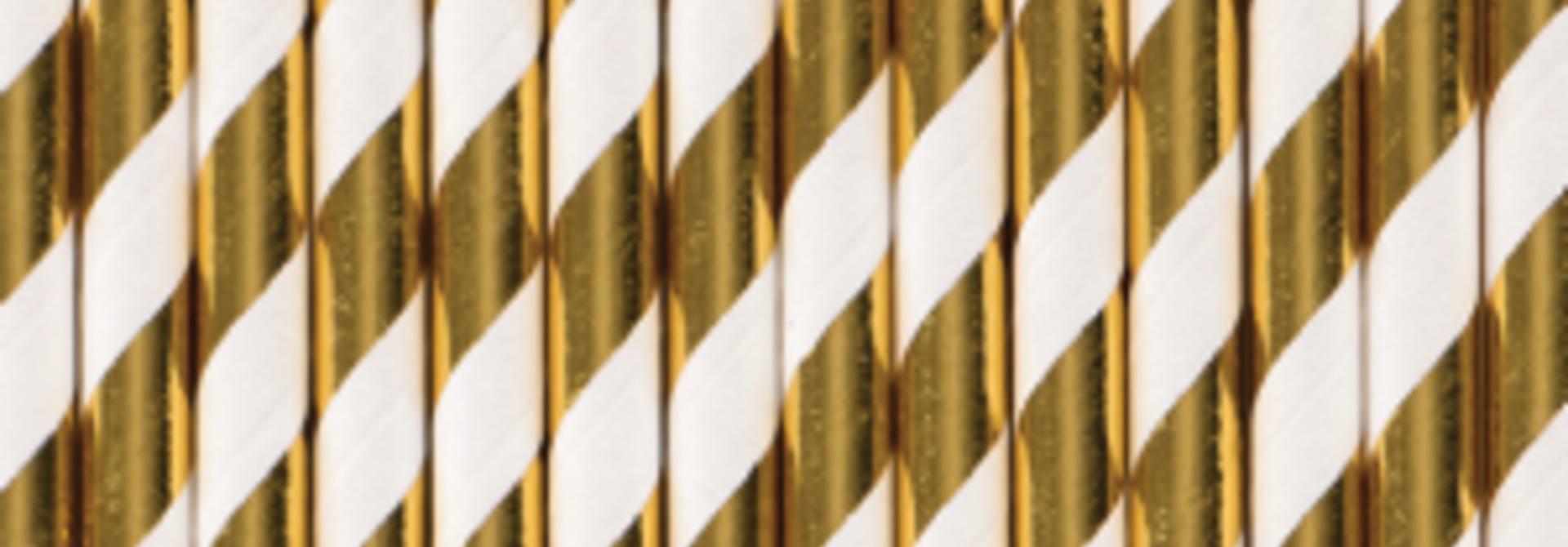 Papieren rietjes gestreept goud folie