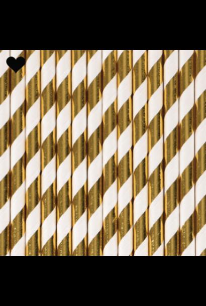 Papieren rietjes gestreept goud folie (25st) Ginger Ray