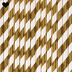 Papieren rietjes gestreept goud folie-1