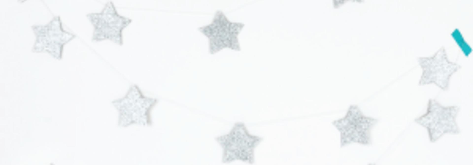 Glitter sterren slinger zilver