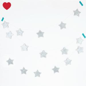 Glitter sterren slinger zilver-1