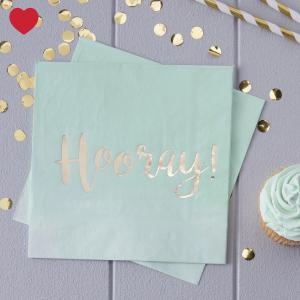 Hooray servetten ombre mint (20st)-1