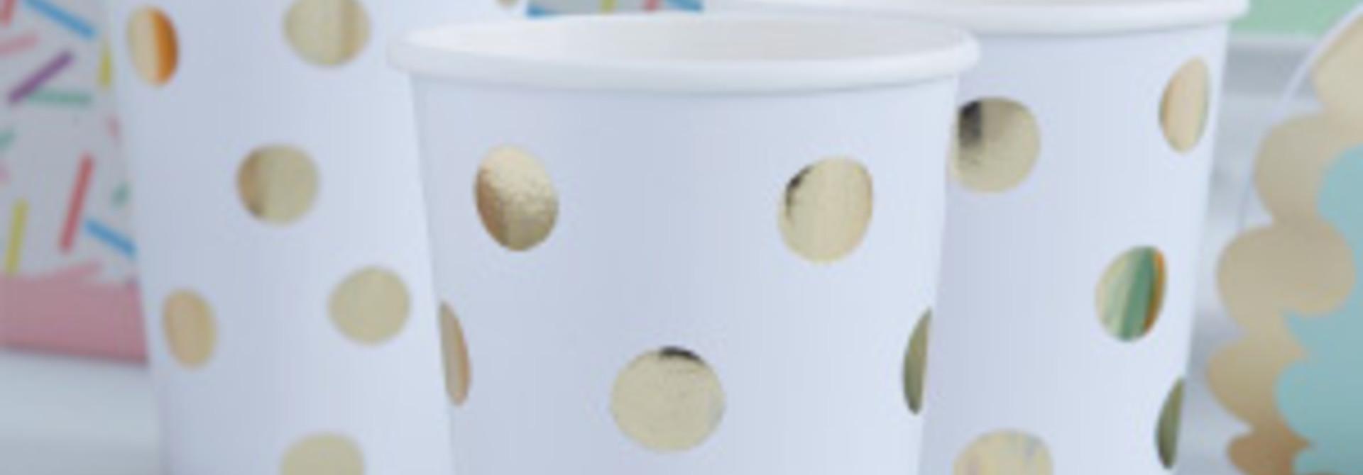 Pick & Mix bekers gold dots (8 st)