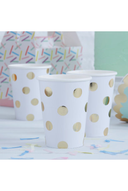 Pick & Mix bekers gold dots (8 st)