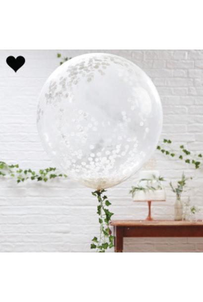 Confetti ballonnen wit xl (3 st) Ginger Ray