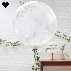 Confetti ballonnen wit xl (3 st) Ginger Ray-1