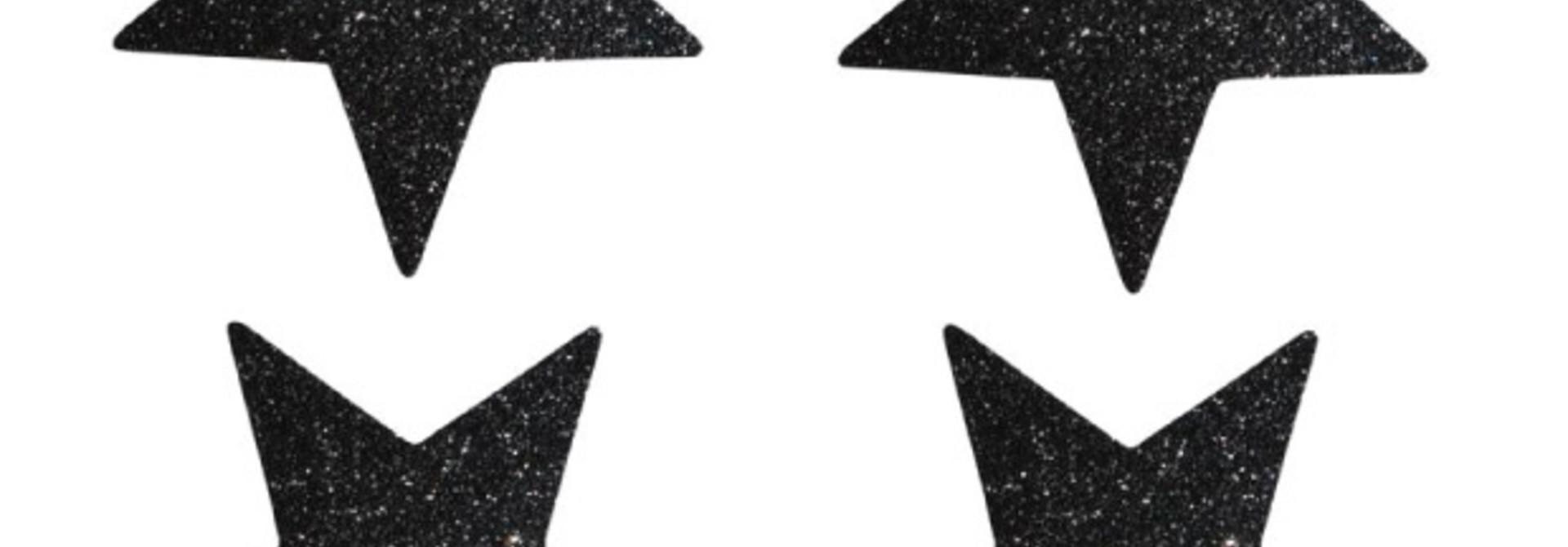 Sterren stickers zwart glitter (24 st)