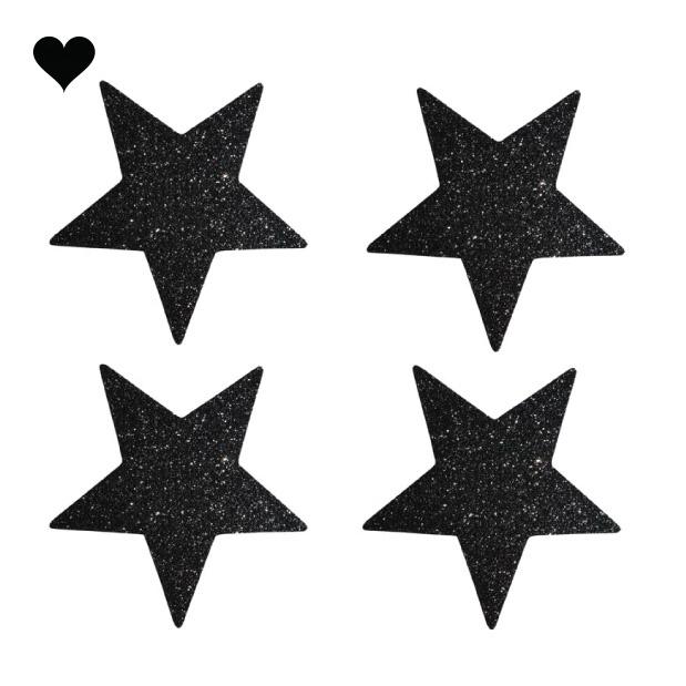 Sterren stickers zwart glitter (24 st)-1