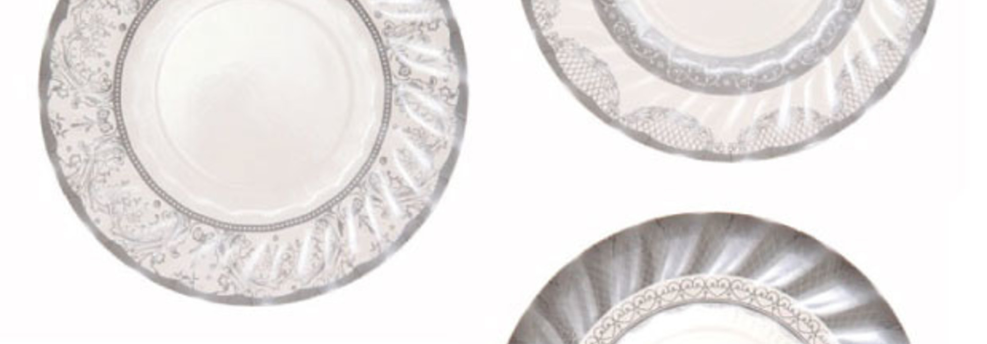 Gebaksbordjes party porcelain zilver (12 st) - Talking Tables