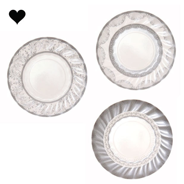 Gebaksbordjes party porcelain zilver (12 st) - Talking Tables-1