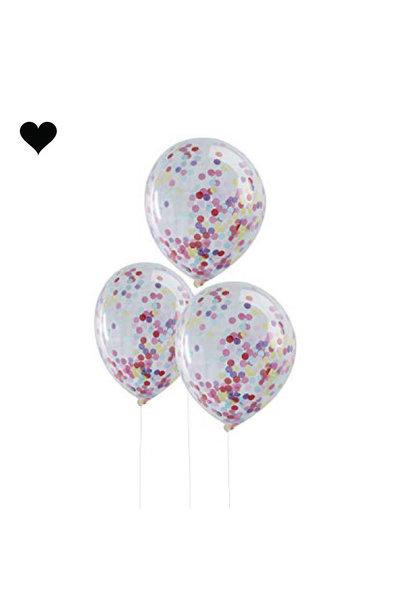 Confetti ballonnen regenboog (5st)