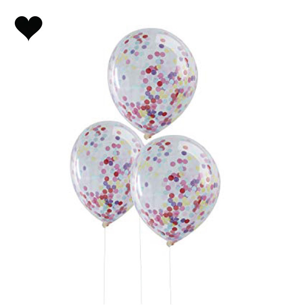 Confetti ballonnen regenboog (5st)-1
